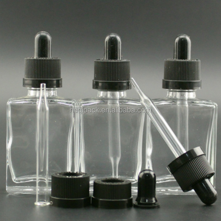Factory directly sales 30ml square glass bottle dropper for hot selling