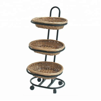 Small Mobile 3 Tiered Basket Metal Display Stand With Wheels