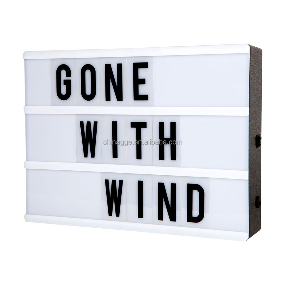 DC5V USB DIY Free Combination New Home Gifts A3 Size Light Up Message Board LED Light Up LED A3 Cinema Light Box with Letters