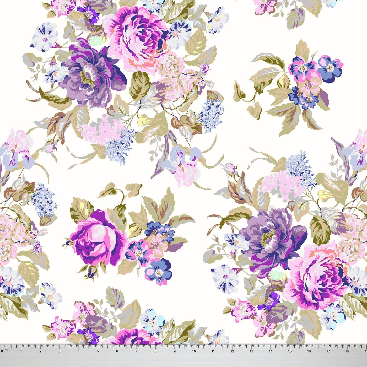 f2f6fba517c Soimoi 58 Inches Wide Floral Printed 115 GSM Viscose Rayon Fabric By The  Yard - Purple
