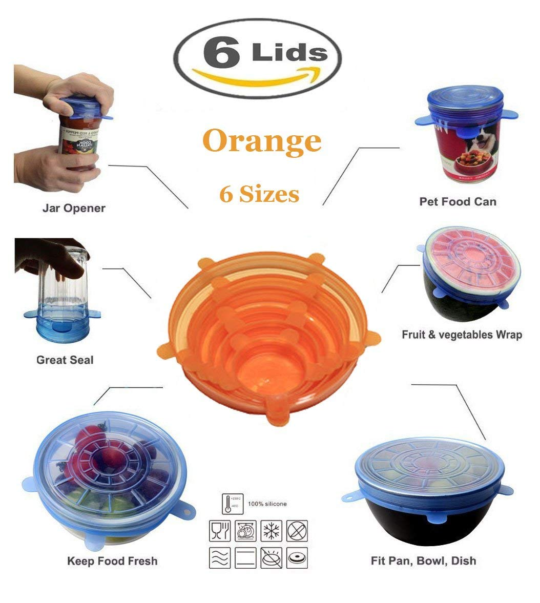 Silicone Stretch Lids Reusable,6-Pack Of Various Sizes Silicone Bowl Lids,Food Saver Covers,Wrap Bowl Pot Cup Lid- BPA Free,Dishwasher,Microwave,Oven and Freezer Safe (6 pcs, Orange)