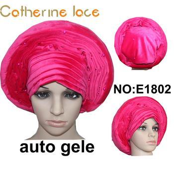 1a38e3b94153 Velvet Customized Beaded Headtie Nigerian Easy Ready To Wear Aso Oke Auto  Gele