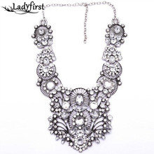 2017 New Arrival Colorful ZA Statement Necklace women Gem Shourouk Crystal Collar Vintage Big necklace Choker Jewelry B552