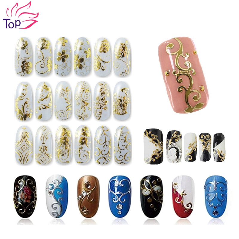 108 Pattern Sheet Large Size Bronzing Stickers Paste Manicure Gold Silver Flowers Sticker Decal 3D Nail