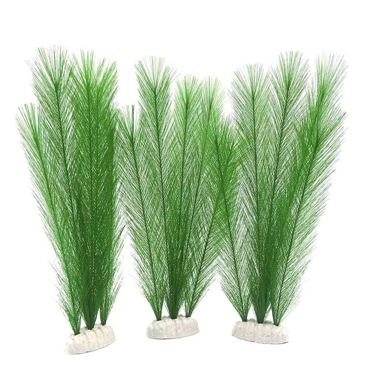 3Pcs Artificial Water Grass Aquarium Fish Tank Plants Decorative 10.6-Inch Green