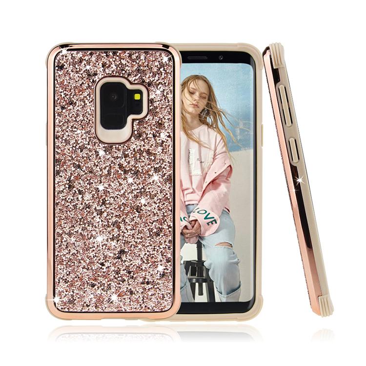 2019 Trending Bling Glamor Glitters Case For Apple iPhone X XS XR , Slim 2 in 1 Phone Case For Samsung S9 S9 Plus Note 9