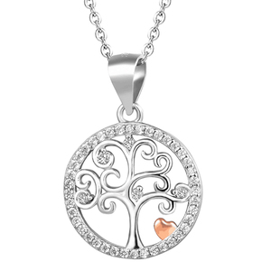 Fashion Jewelry Cubic Zirconia 925 Sterling Silver Necklace Tree of Life Necklaces