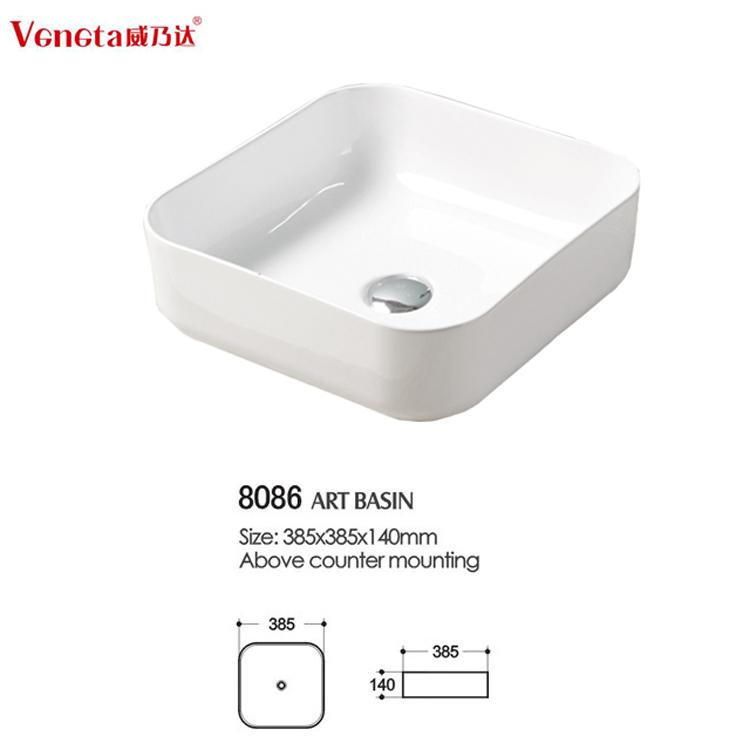 Modern Elegant Design Ceramic Thin Edge Bathroom European Sinks
