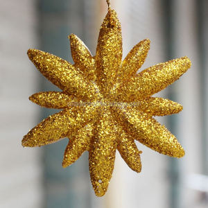 65mm Beautiful Silver Golden Snowflake Hanging For Winter Holiday Decoration