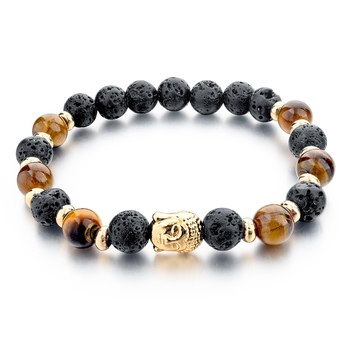 Fashion Tiger Eye Stone Beads Bracelet Gold Buddha Black Yoga