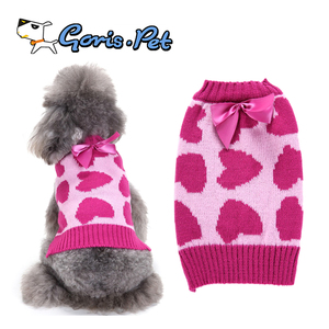 Super Cute Pink Bowknot Sweet Heart Pet Dog Winter Clothes Sweaters