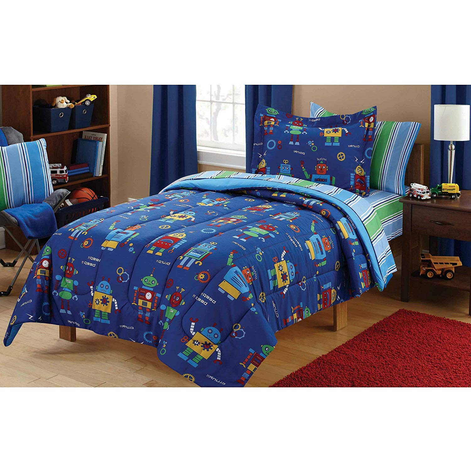 5 Piece Kids Boys Blue Green Robots Comforter Twin Set, Red Robot Bedding Science Fiction Themed Bed in Bag Futuristic Machine Mechanic Gear Droid Fantasy Adventure Novelty Graphics Design, Polyester