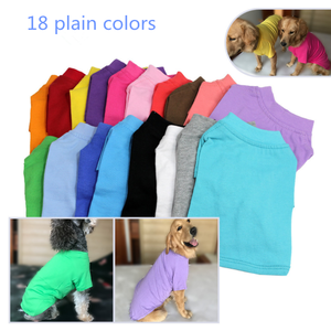100% cotton dog pet t-shirts for pet clothes blank color dog sweater manufacturer