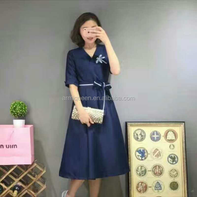 A-Line Navy Top Quality Silk Fashion Drees With Belt Wholesale Price
