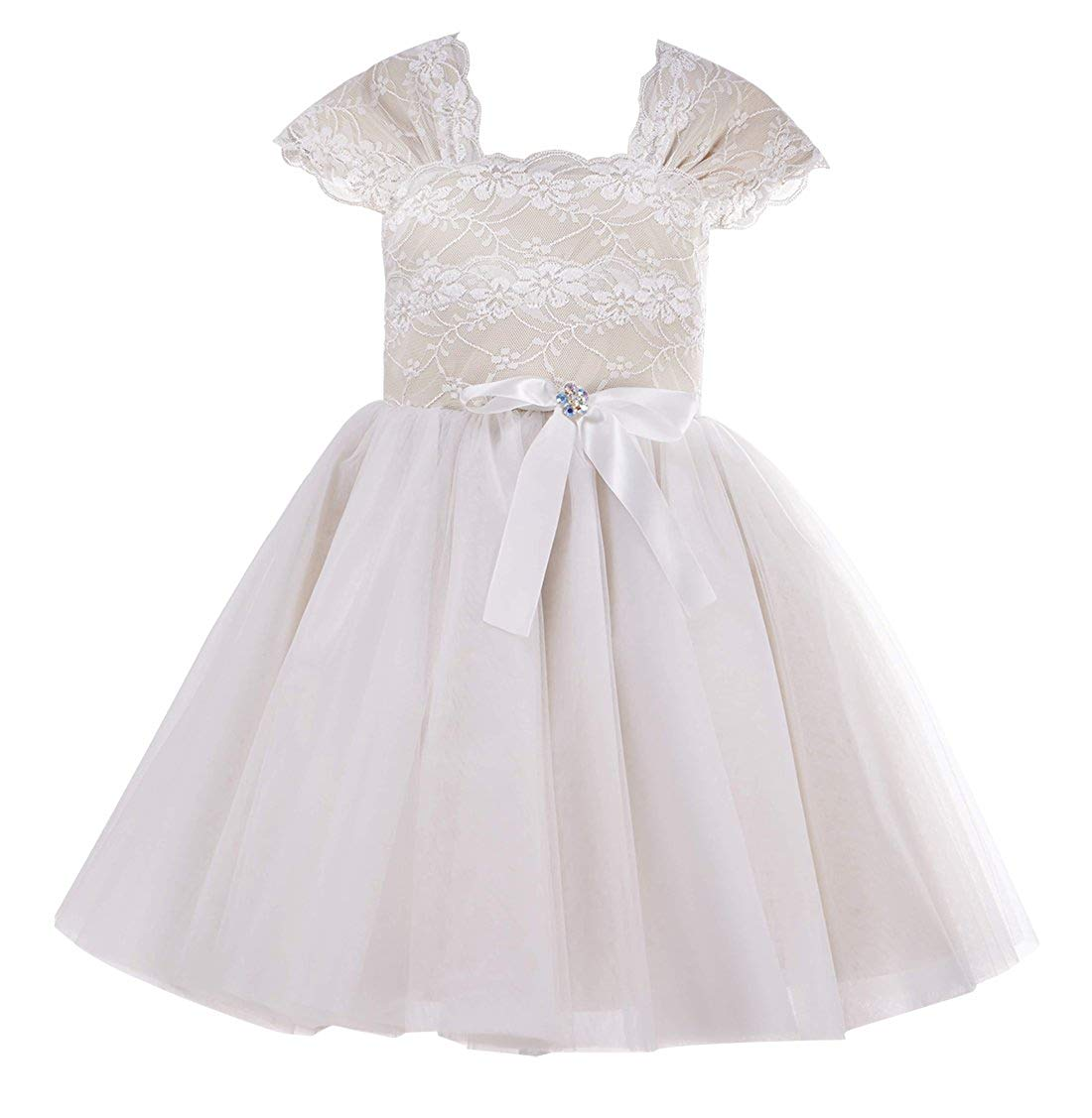 d5feffd0cd2 Get Quotations · princhar Lace Tulle Flower Girl Dress Toddler Chritening  Baptism Kids Party Dress