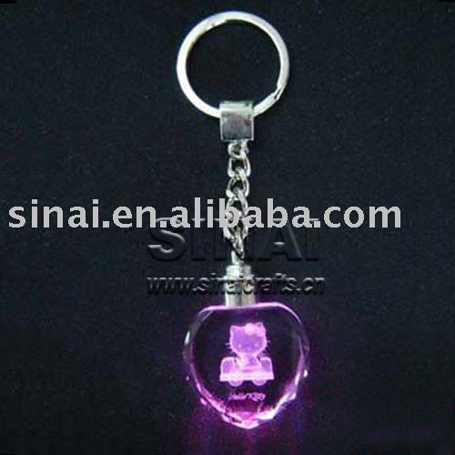 LED Light 3D Laser Engraving Pink Heart Shape Crystal Key Chains