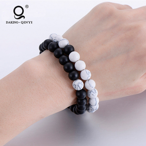 2019 Custom accessories Black Natural Stone Bead Mala Stretch Bracelet For Men Women