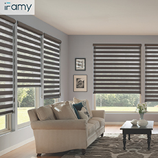 Polyester motorized zebra window blinds with remote control
