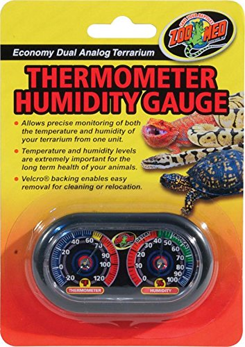Zoo Med Economy Analog Dual Thermometer and Humidity Gauge, 6 x 4""