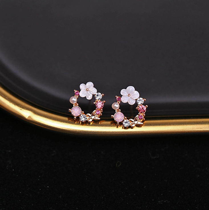 925 sliver needle fresh and cute <strong>flower</strong> circle stud <strong>earrings</strong> women