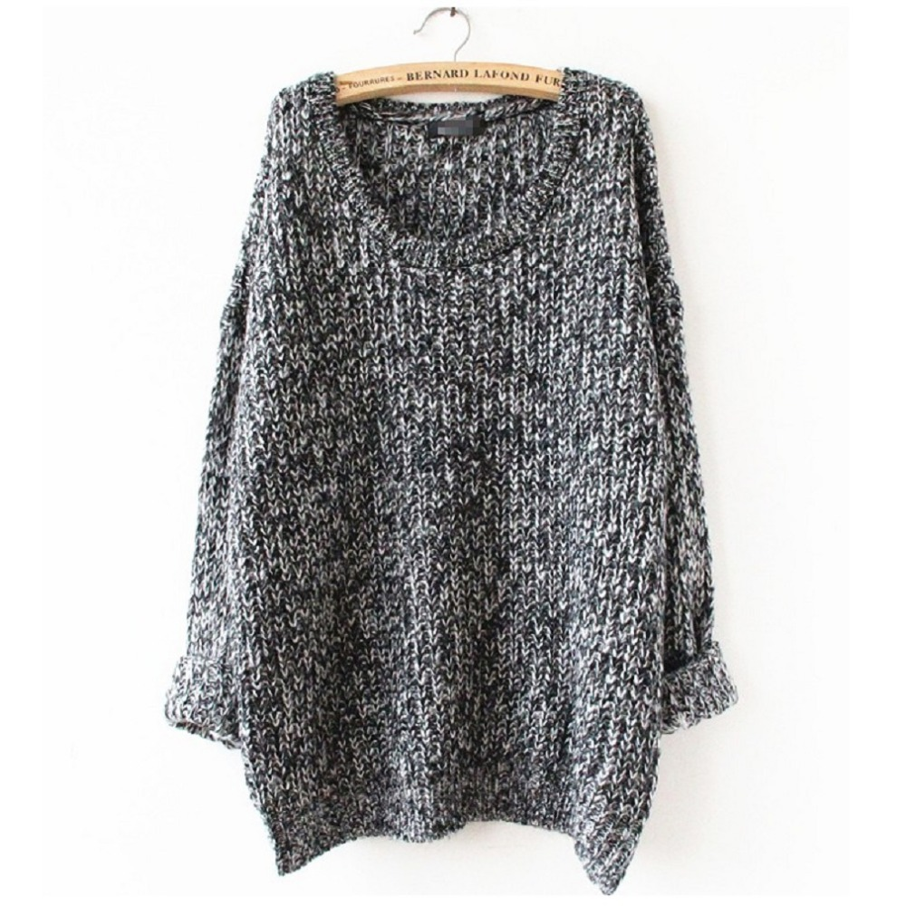 2016 Winter Women Wool Knitted Sweater Batwing Sleeve Tops Pullover Coat Loose Outwear Plus Size 5