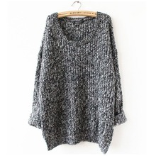 2015 Winter Women Wool Knitted Sweater Batwing Sleeve Tops Pullover Coat Loose Outwear Plus Size 5 Colors