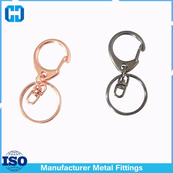 Metal C Lobster Clasp Hook Chain Split Key ring Accessories