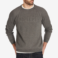 Manufacturers latest sweater designs Plain Pullover Men's Logo Embossed Raglan-Sleeve Wool Knit Custom DSV gray Sweater