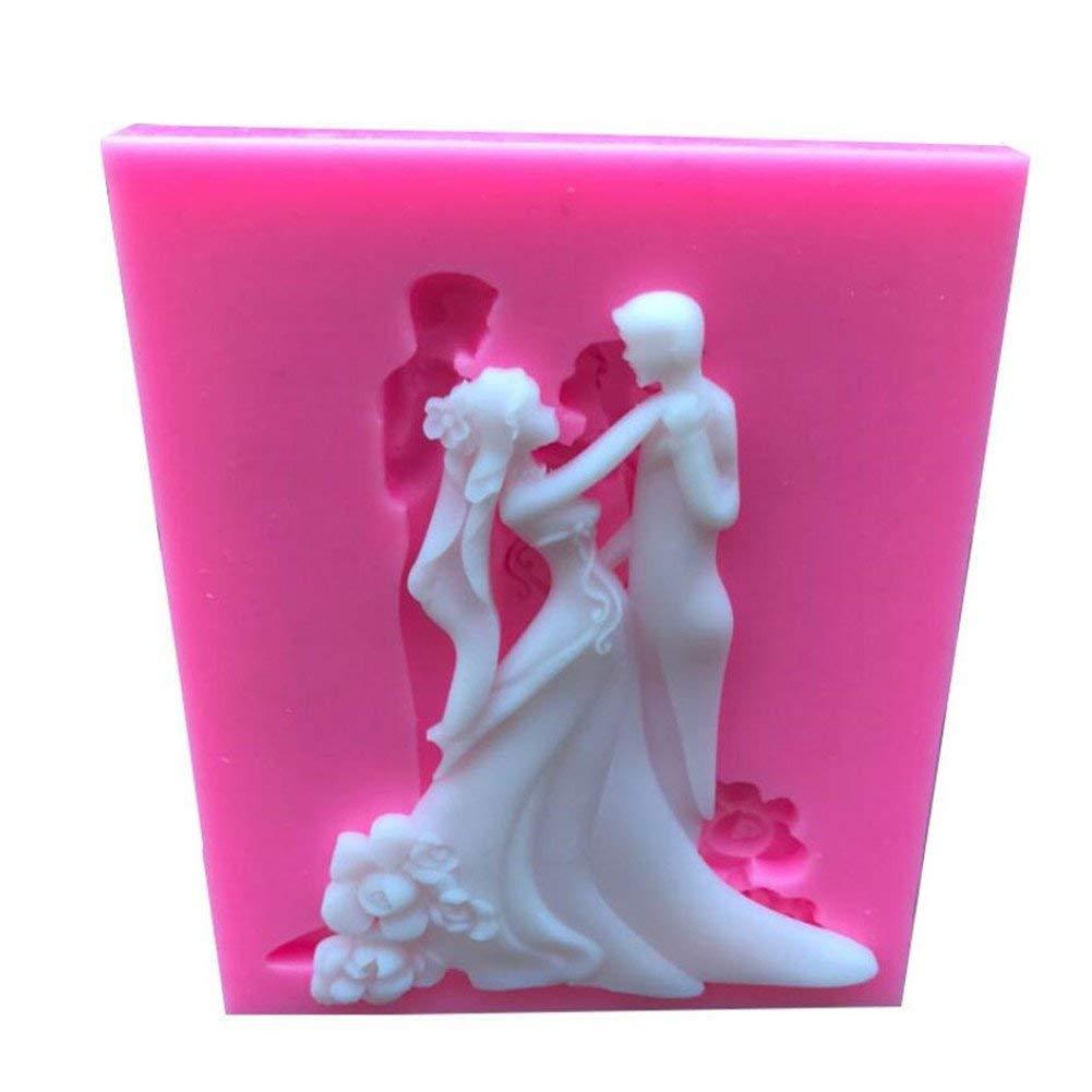 Bride bridegroom shape Silicone Fondant Soap Mold,Resin Clay Candle Baking Mat, Bakeware Molds Cake Decorating Tool,Sugarcraft Chocolate Pastry Square Baking Pan,Gumpaste Mold,Craft Baking Supplies