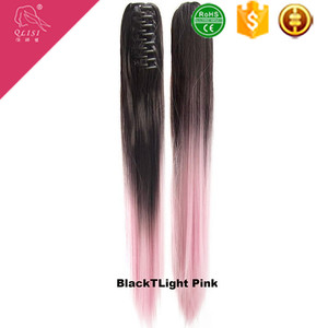 Heat resistant synthetic ombre claw clip ponytail straight ponytails