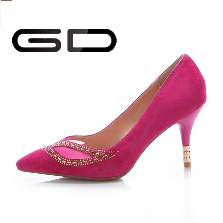 Fashion fuschia ladies high heel shoes in stock