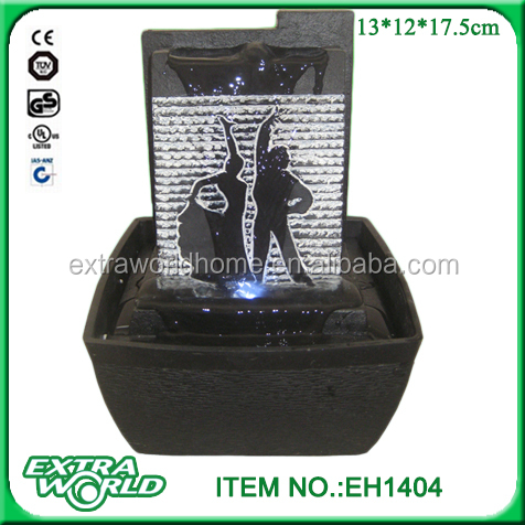 Modern Silhouette LED Indoor Tabletop Fountain Waterfall