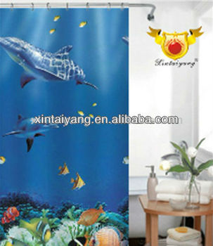 Whale Fabric Design Polyester Ocean Shower Curtainsfinding Nemo Bathroom Set
