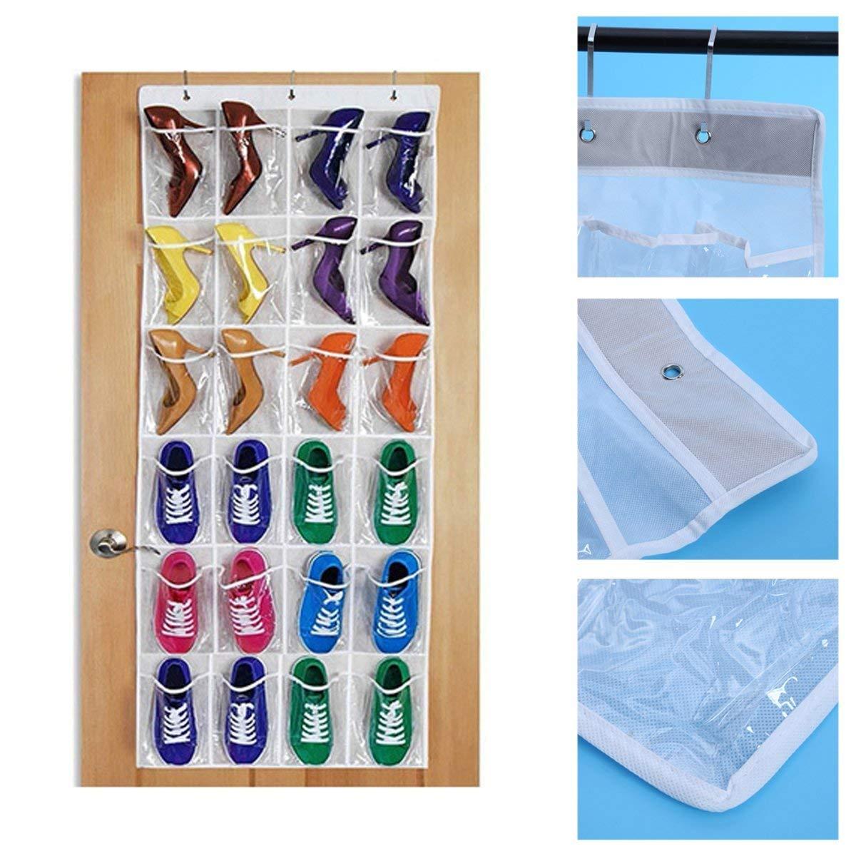 Buy 24 Clear Pockets Over The Door Hanging Shoe Organizer ...