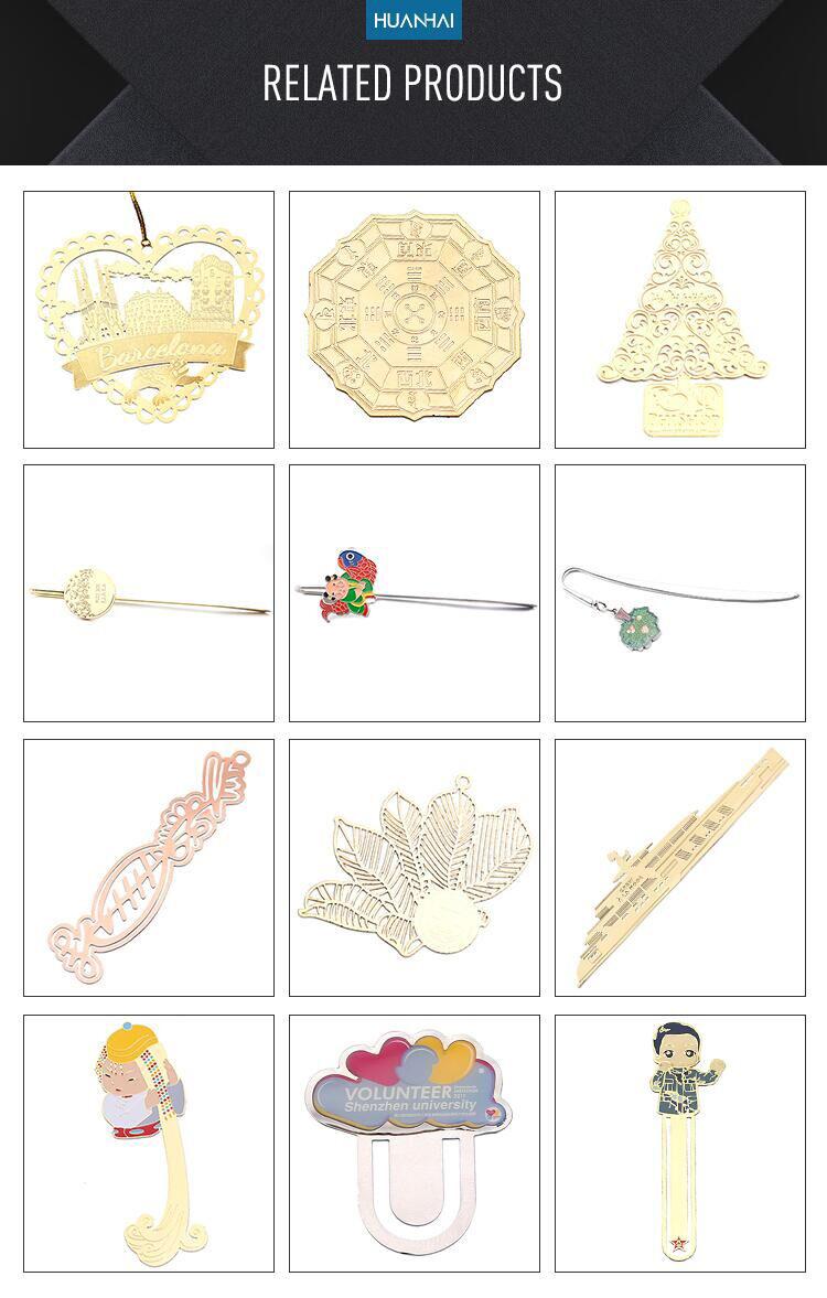Promocional personalizado regalo 3D logotipo esmalte chapado en oro marcador de metal de fábrica