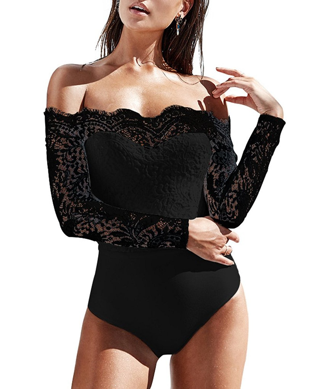 Get Quotations · Sumtory Women One Shoulder Bodysuit Tops Solid Lace  Patchwork Bodycon Romper Thong cc55ffdbc