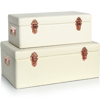 Vintage set of 2 stitched leather storage trunk with rose-gold accessories