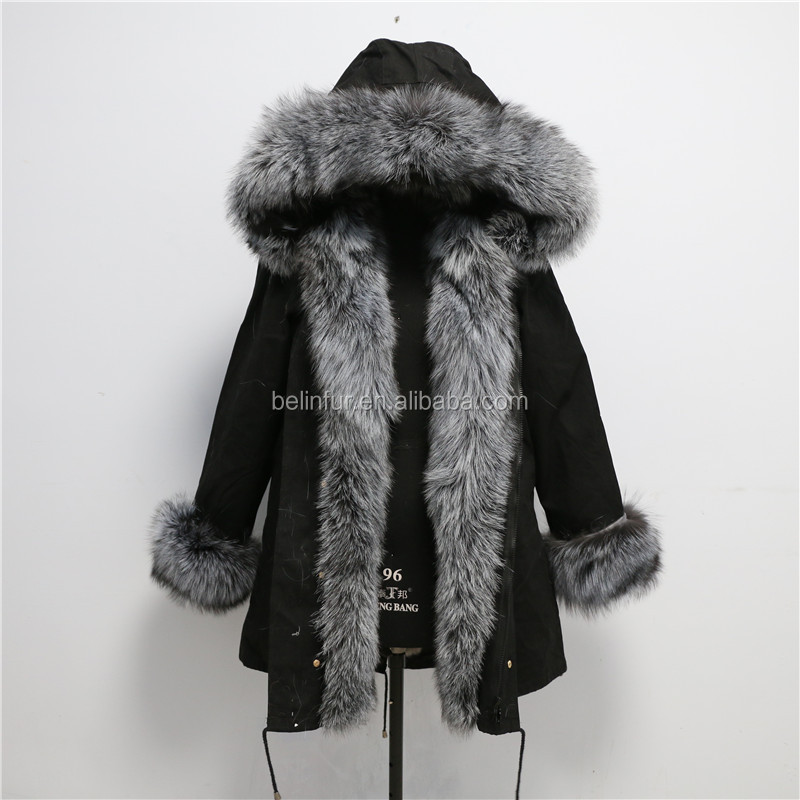 2018 Wholesale Custom Real Rex Rabbit Fur Lined Parka / Women Autumn Winter Coat with silver fox Fur Hood