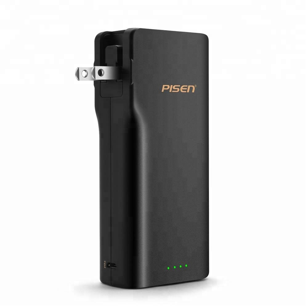 Excellent 18650 Lithium Battery 10000mAh Smart Phone Power Bank with Foldable AC Plug for Quick Charging, Black