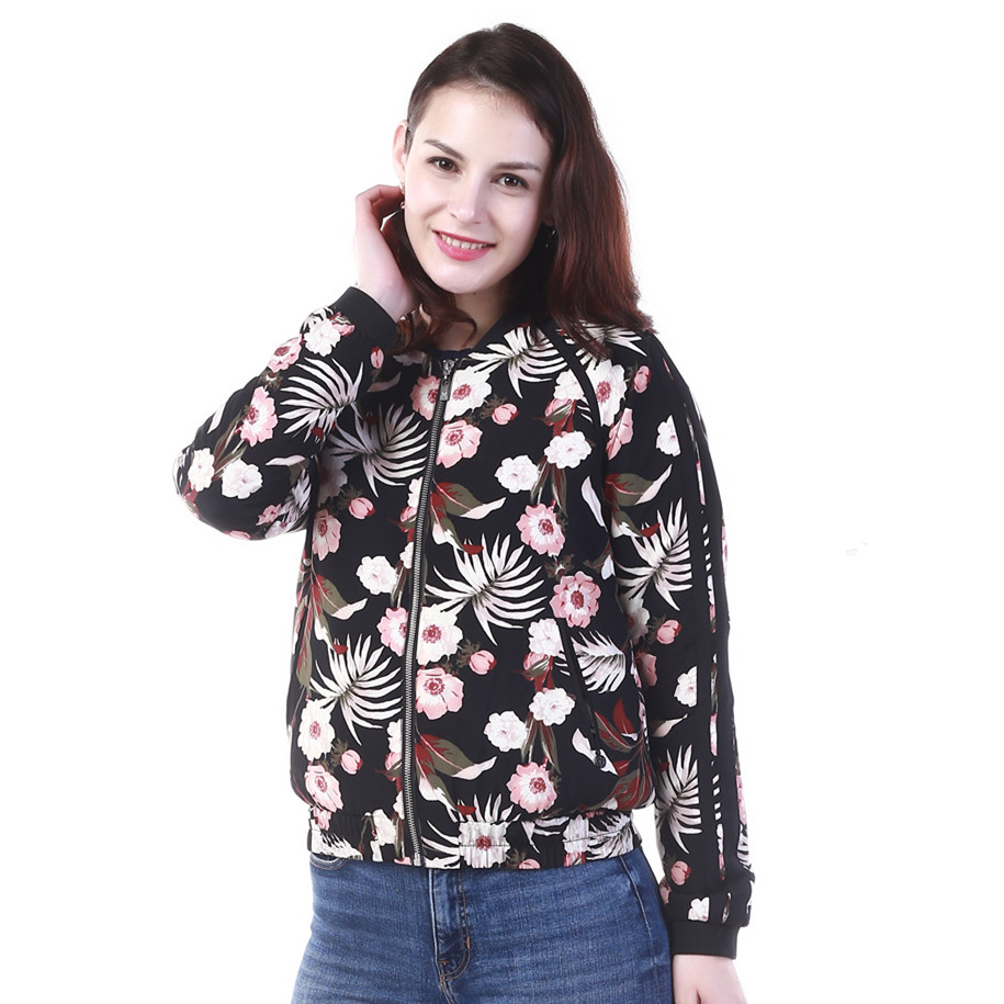 Fashion OEM Service Ladies Leisure Embroidered Bomber Printed Short Jacket