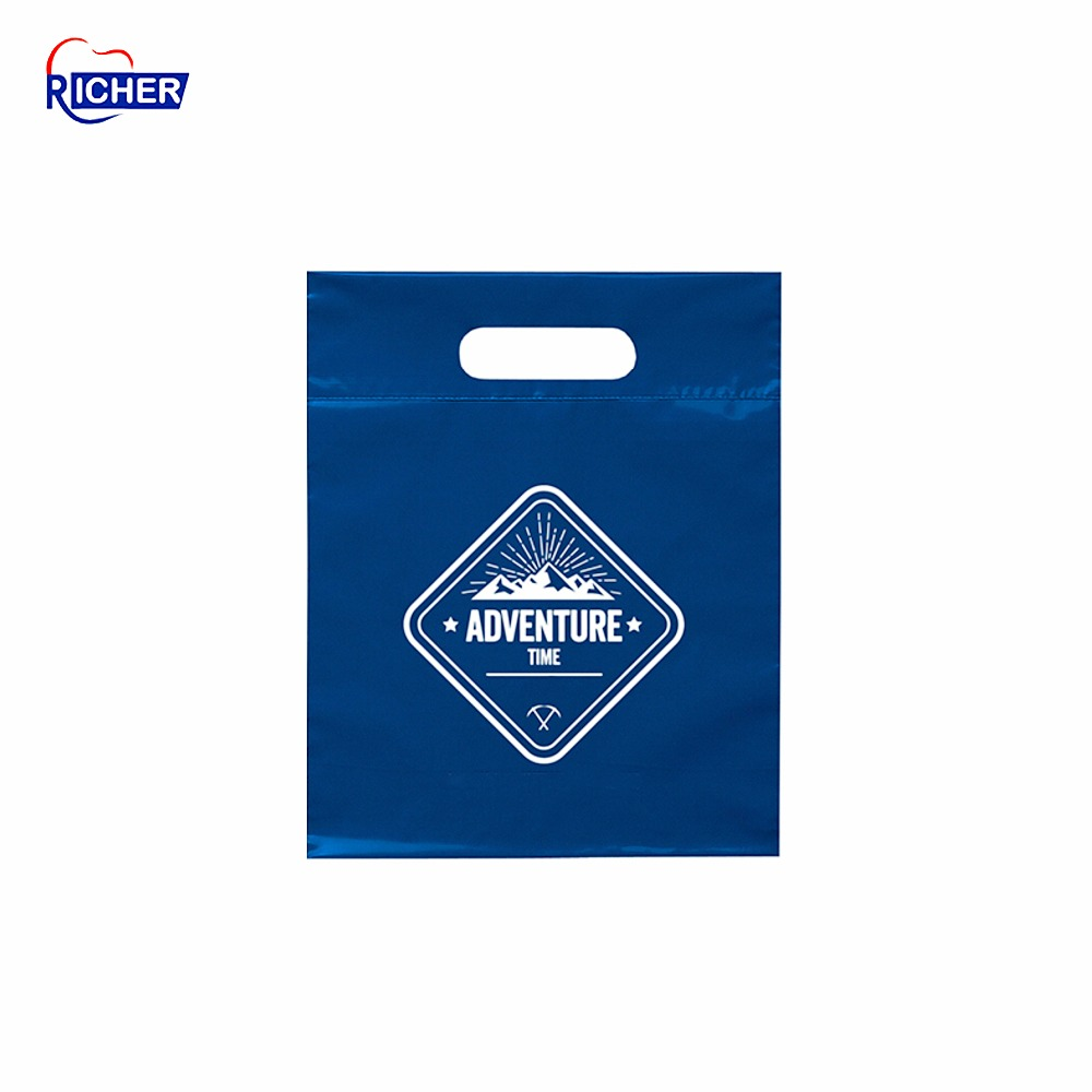 plastic shopping bags logo printing die cut bag with handle,die cut handle plastic bag
