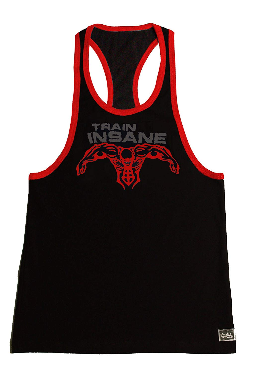 13d2bb717e4cbd Get Quotations · Fitted Black Red Stringer Hardcore Bodybuilder Tank Top  With Grey Train Insane And Red Super
