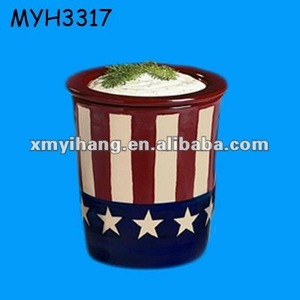 Patriotic America flag printing ceramic ice bucket Dip Chiller