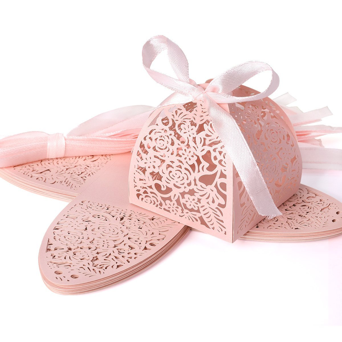 Buy Laser cut oblong rose wedding candy favor box, paper gifts bag ...