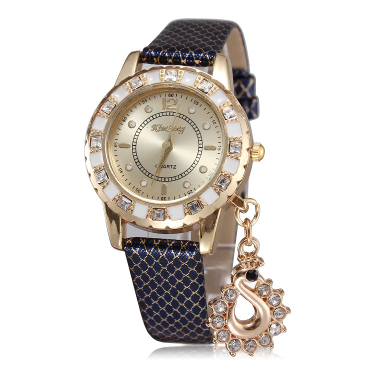 Hot sale women rhinestone watches luxury brand leather straps watches with pendants rose gold plated dial free shipping