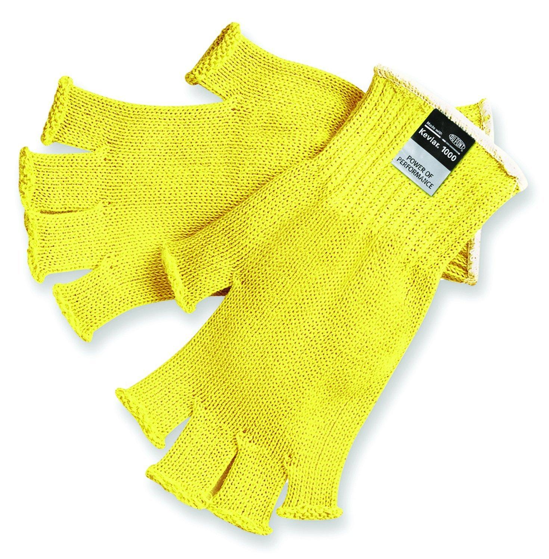 MCR Safety 9373L Kevlar Regular Weight 7 Gauge Fingerless Gloves, Yellow, Large, 1-Pair
