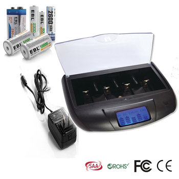 LCD Universal Smart AA AAA C D 9V Rechargeable Battery Charger With