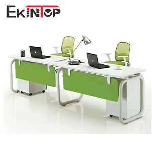 Office workstation for four people peach wood and warm white upholstery, Pro office furniture factory