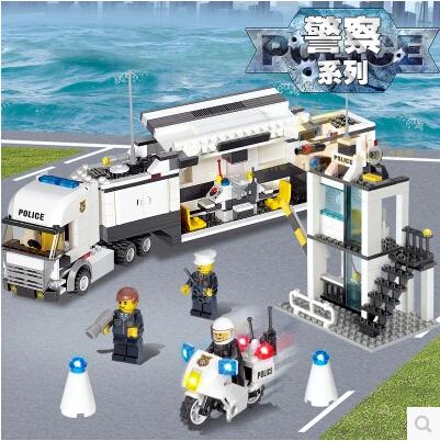 City Police Station 511pcs KAZI 6727 DIY Police Truck Minifigures Building Block Kids Educational Toys Compatible