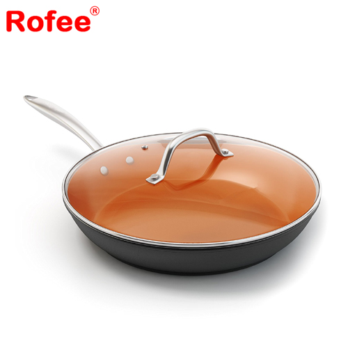 Nonstick Copper Ceramic Fry Pan With Lid